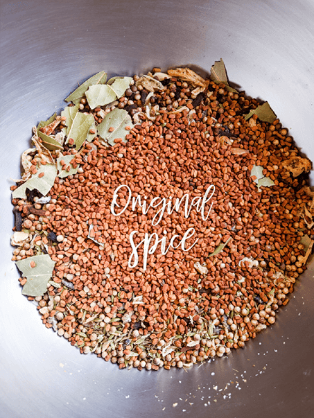 Original spices and herbs for plant based curry